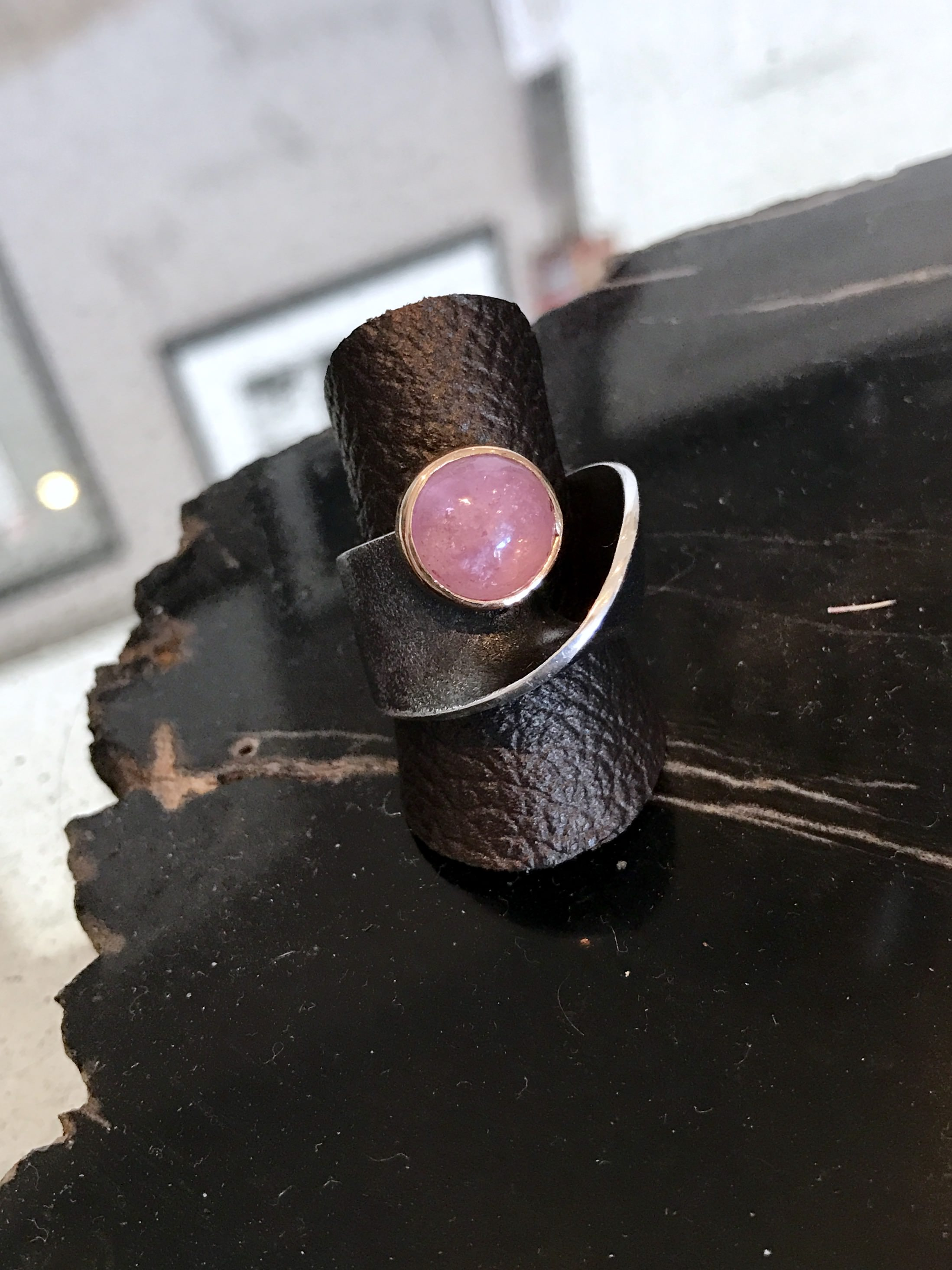 pink tourmaline twist ring