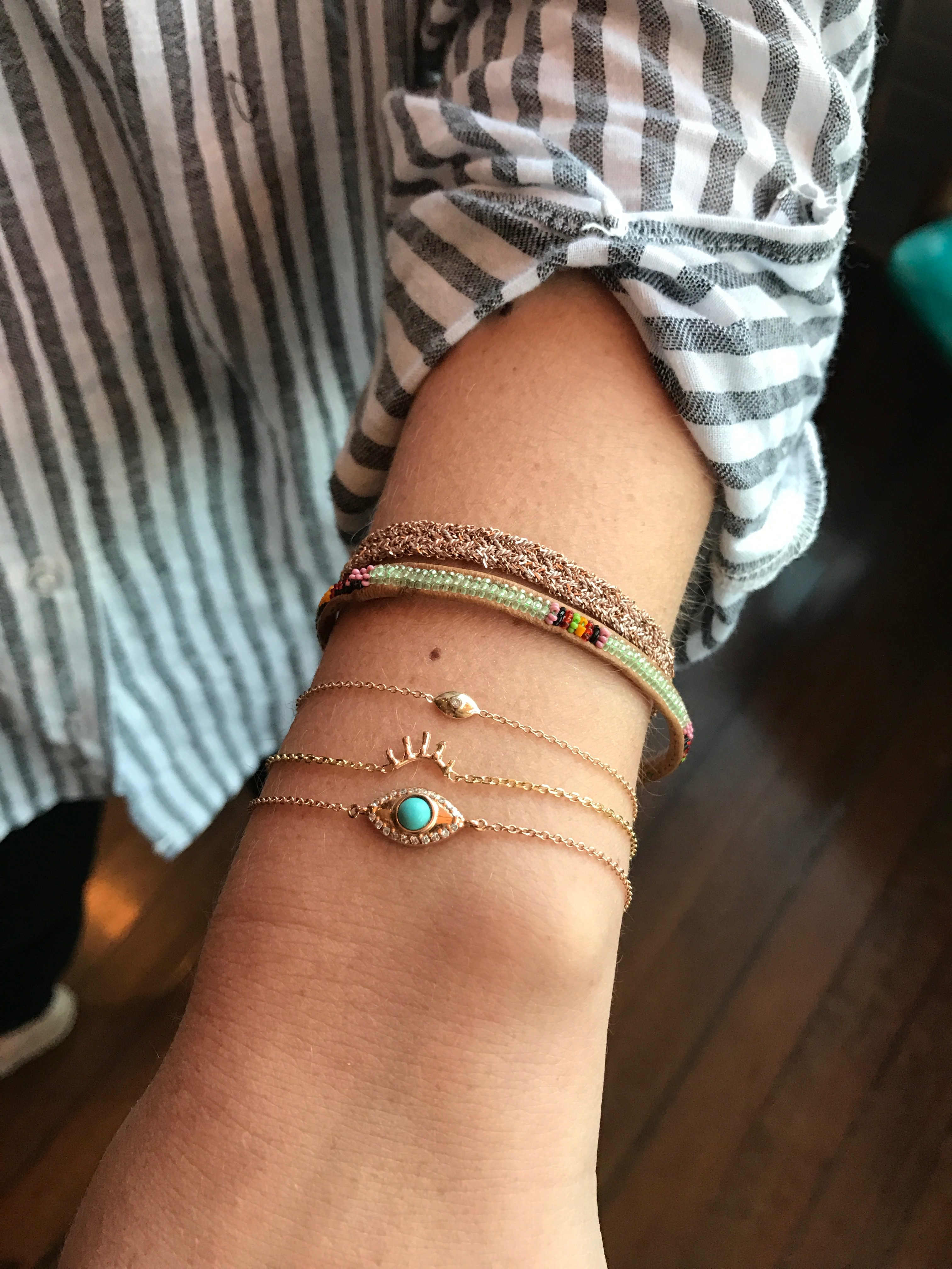 evil eye with turquoise and diamonds