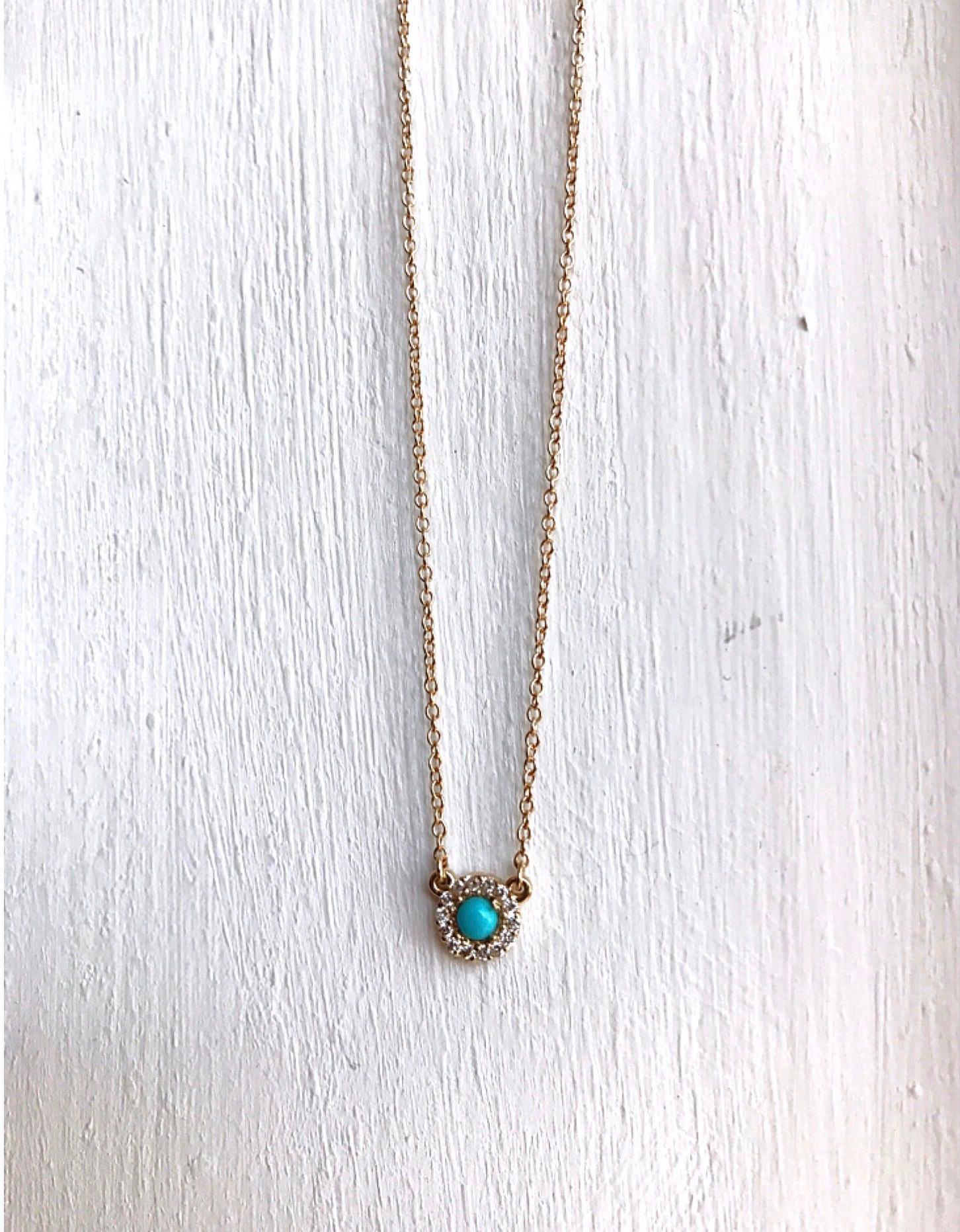turquoise with diamond halo necklace