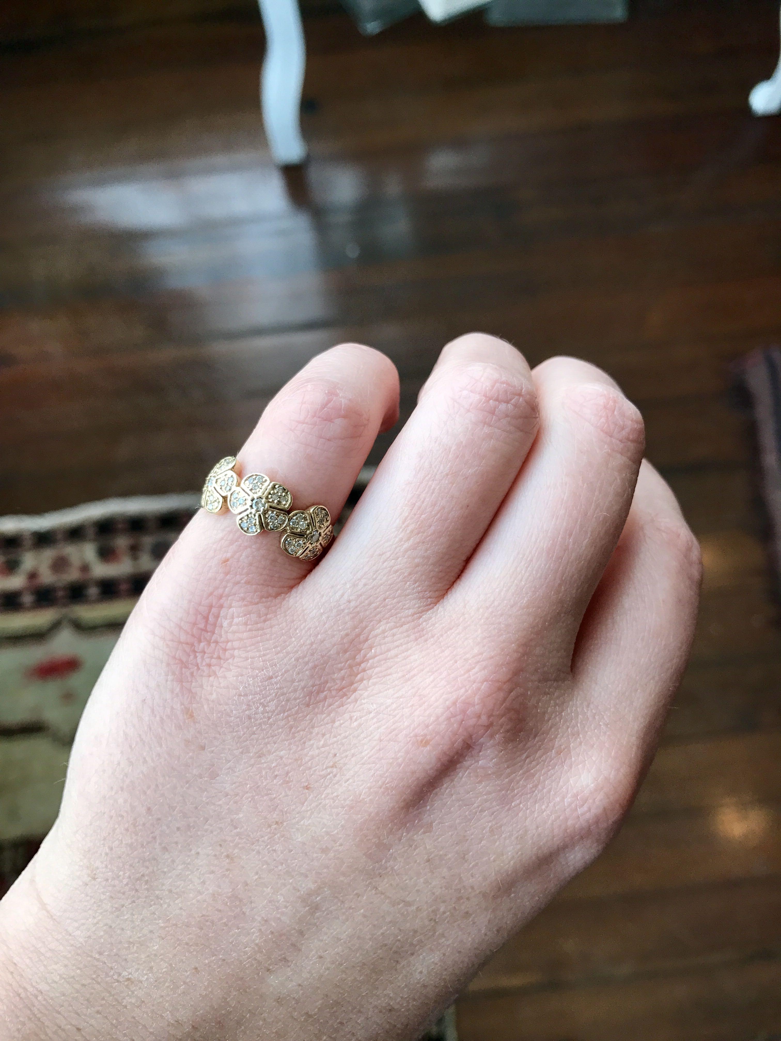 three diamond flowers ring