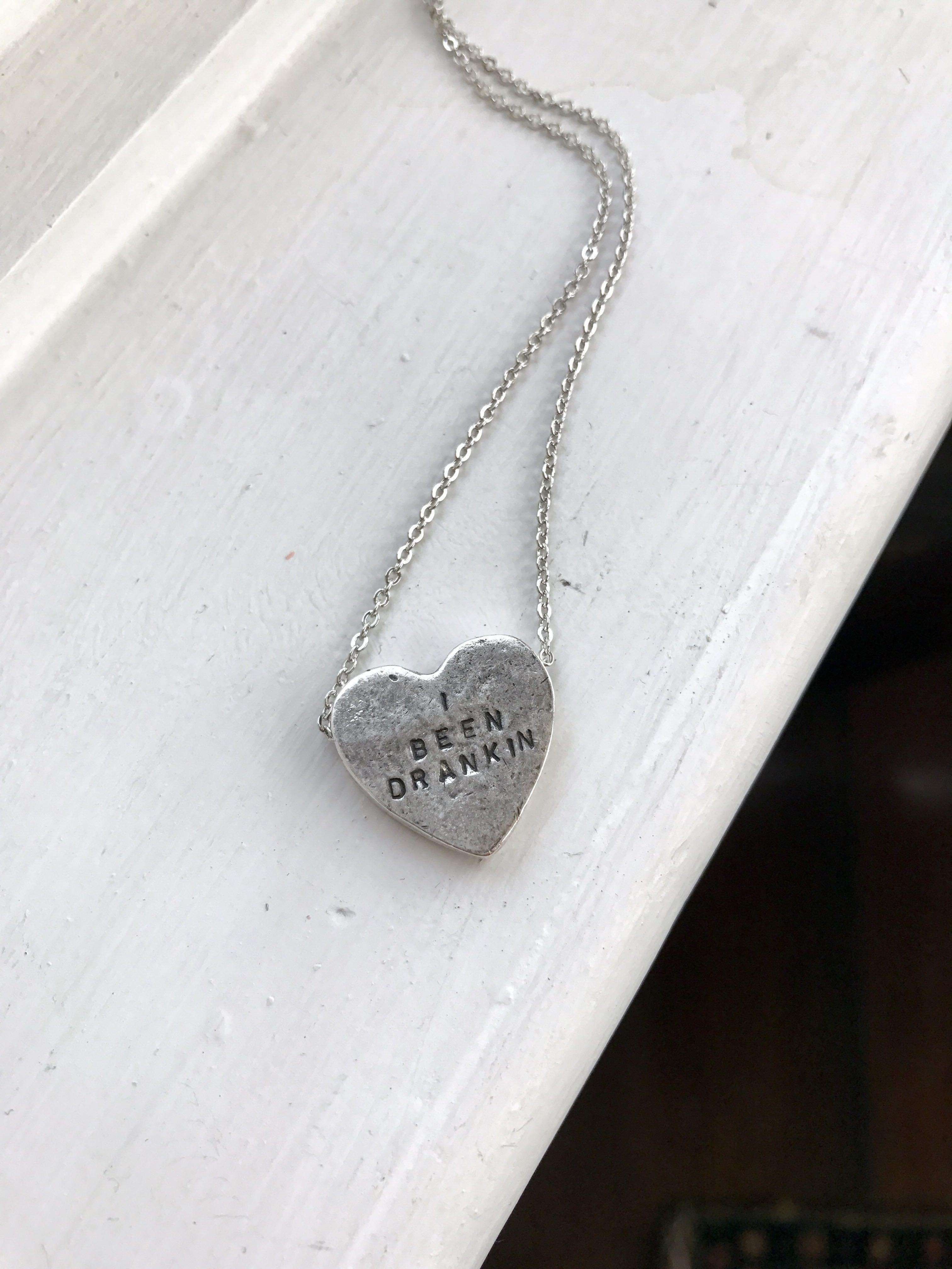 """""""i been drankin'"""" heartbeats necklace"""